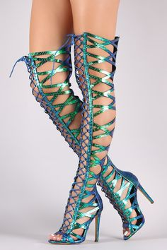 Holographic Snakeskin Lace Up Heels OTK gladiator boots