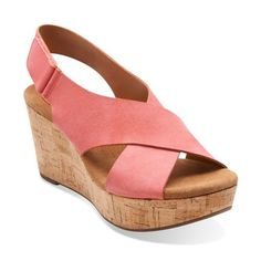 a23051ac538c Women s Clarks Caslynn Shae coral platform sandal cast from smooth nubuck.  And an ultra-plush OrthoLite footbed will keep you comfortable all day long.