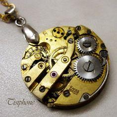 Swiss made - náhrdelník hodiny hodinky čas steampunk strojek hodinový stroj mechanický