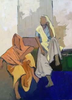 """The conversation, oil on canvas, 20x24"""" by Arun Prem @ www.oilpaintingsofINDIA.com"""