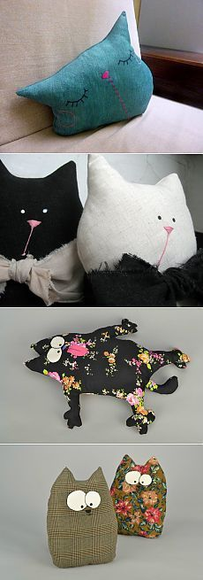 Cats Toys Ideas - Coussins , cale porte chat - Ideal toys for small cats Sewing Pillows, Diy Pillows, Decorative Pillows, Cushions, Pillow Ideas, Sewing Toys, Sewing Crafts, Sewing Projects, Crochet Projects