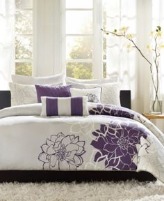 Madison Park Lola 7 Piece Print Comforter Set, Queen, Grey/Purple: Lola is the perfect solution to an updated, modern print look. This comforter collection features an overscaled floral print design printed on cotton fabric for a super soft hand feel. Grey Comforter Sets, Floral Comforter, Duvet Bedding, Duvet Sets, Duvet Cover Sets, King Comforter, Bedroom Comforters, Queen Duvet, Purple Bedding