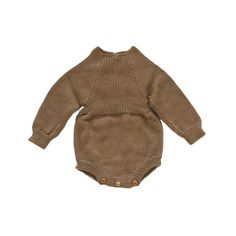 Fall knit baby Long Sleeve Romper - Acorn/light brown color baby boy or girl outfit perfect for pictures!