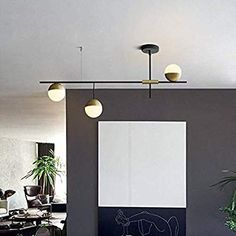 Mid-Century Modern 3 Light Linear Ceiling Light in Black and Brass with Glass Globes for Dining Room Kitchen Island Restaurant - Kronleuchter Decor, Kitchen Island Table Combination, Vintage Chandelier, Kitchen Lighting Over Table, Home Ceiling, Kitchen Room, Modern Dining, Ceiling Lights, Modern Farmhouse Kitchens