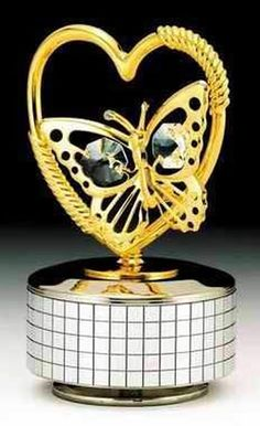 Butterfly Heart Gold Music Box