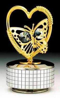 Butterfly Heart Gold Music Box