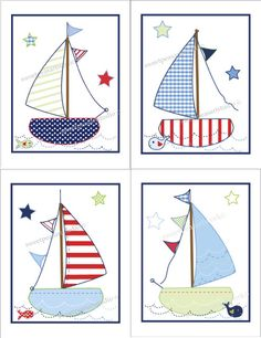 Items similar to Sailboat Whale Boats Jackson Art Prints Nautical Nursery bedding decor on Etsy Applique Templates, Applique Patterns, Applique Designs, Quilt Patterns, Embroidery Designs, Wool Applique, Applique Quilts, Embroidery Applique, Machine Embroidery