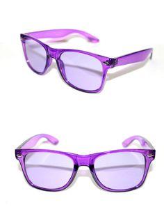 76386bb09b0 Women s Horn Rimmed Sunglasses Crystal Clear Frame Purple lens 80 s Retro  Rare  Kiss