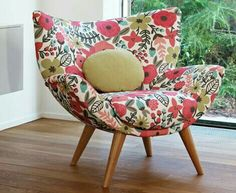 I don't love the fabric but I do love the design of this chair. It's like a combo of a bean bag and a wingback armchair Love Chair, Funky Furniture, House Furniture, Take A Seat, Cool Chairs, Home Accessories, Interior Design, House Styles, Home Decor