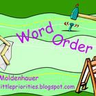 This flipchart contains pages to introduce word order.  Students move objects that contain words around to make a complete sentence that makes sens...