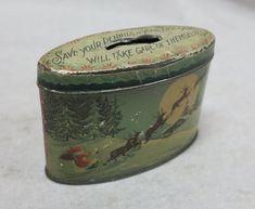 Christmas Santa Claus Tin Litho Oval Coin Bank