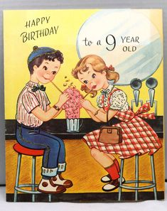 1960s Birthday Greeting Card VintageTeenage Boy Girl Soda Stand Parlor Couple