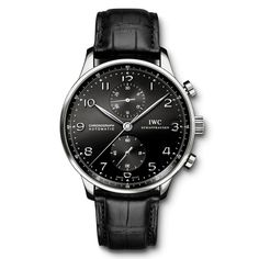 Ref.: IW371438  Portuguese Chrono Automatic, Steel Black Numbers Alligator Black, Tang Buckle, Steel.