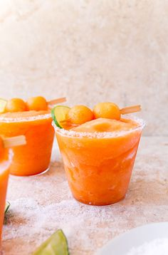 Melon cocktail slush made with cantaloupe, mint, and lime.
