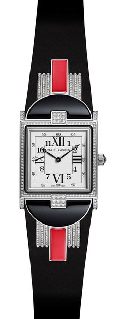 26.50mm model in white gold Modern Art Deco-style watch with red coral-based stone with movement RL430 made by Piaget.
