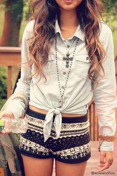 omg! i like loove this outfit, the top is cute and i like how it tyes at the end, the accessories are great and the shorts are ok. so i give this a 9!