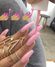 Pin by jackie on nails long nails, nail designs, nails. Sexy Nails, Dope Nails, Nails On Fleek, Ongles Roses Barbie, Barbie Pink Nails, Gorgeous Nails, Pretty Nails, Pink Acrylic Nails, Glitter Nails
