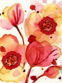 Modern Botanical Art Print,  Poppies, 8 x 10 Archival Botanical Art