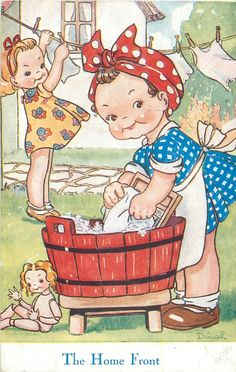 vintage laundry going to make a Monday wash day journal :) Images Vintage, Vintage Pictures, Pretty Pictures, Vintage Greeting Cards, Vintage Postcards, Vintage Laundry, Vintage Children's Books, Cute Illustration, Vintage Prints
