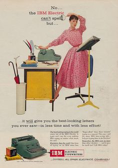 IBM Electric Typewriters...for the best-looking letters you ever saw! #vintage #office #typewriters #1950s