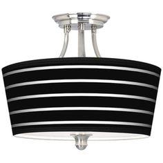 Bold Black Stripe Tapered Drum Giclee Ceiling Light.  Tapered look is nice  http://www.lampsplus.com/portfolio/default.aspx  $149 free shipping.  Similar choices here:  http://www.lampsplus.com/products/bold-black-stripe-tapered-drum-giclee-ceiling-light__m1074-m2957.html?sourceid=MECRTOM1074-M2957&cm_ven=CRTO-ME&cm_pla=at_M1074-M2957&cm_ite=Close%20to%20Ceiling%20Lights&cm_cat=Banner