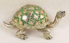 Vintage Reja Sterling Silver & Rhinestones Turtle Pin Brooch