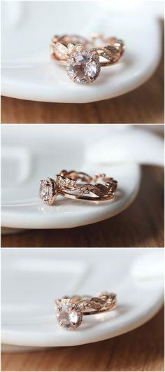 Two Rings--- 7mm Round Halo Morganite Ring Set Rose Gold/Dainty 14k Rose Gold Morganite Engagement Ring/Morganite Ring Set/Wedding Ring set #halorings