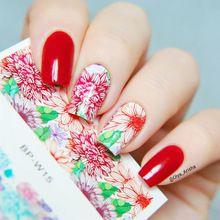 BORN PRETTY Fantastique Fleur Nail Art Stickers Eau Transfert Autocollant 2 Modèles/Feuille BP-W15(China (Mainland))
