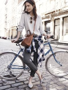 Maroon Bomber Jacket styled with White Shirt , Grey T-shirt , Black Jeans and one can finish the outfit Cycle Chic, Look Fashion, High Fashion, Autumn Fashion, Womens Fashion, Plaid Outfits, Casual Outfits, Casual Wear, Bike Style