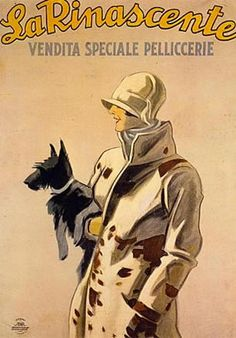 1923  Marcello Dudovich, La Rinascente, vendita speciale di pelliccerie DECO SCOTTIE! http://www.girlinthejitterbugdress.com