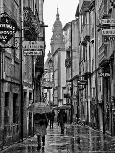 Photo listed in Black and White at Santiago de Compostela, Spain. 185 shares, 789 likes and 3241 views. Pilgrimage, Times Square, Rain, Black And White, City, Prints, Travel, Twitter, Interior