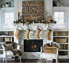 All of the beautiful Christmas accents and colors are used to create this neutral and stunning mantel display. #holidays #christmas