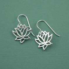 Lotus Flower Earrings - sterling silver - handmade yoga jewelry - gift on Etsy, $37.00