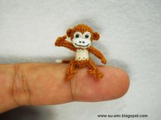 Micro Miniature Monkey - Thread Crochet Dollhouse Animals - 1 inch Scale White Brown Monkey - Made to