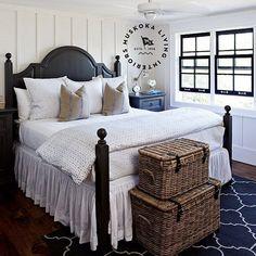 Casual coastal bedroom with board and batten walls.  Muskoka Living Interiors.