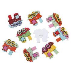 sewing, scrapbook button train for kids dětské knoflíky masinka