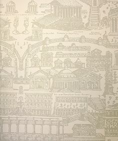 Rome Wallpaper Large architectural design, reliving the awe and magnificence of the Italian city of Rome in taupe on stone.