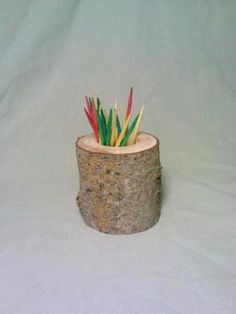 Toothpick Holder Rustic Decor Log Wood by DeerwoodCreekGifts