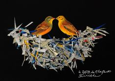 nid d'oiseau dans l'art – RechercheGoogle Tea Bag Art, Book Page Art, Arts Integration, Collage Art Mixed Media, Newspaper Crafts, School Art Projects, Recycled Art, Art Classroom, Art Plastique