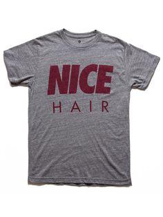 shop at Ambassadas.com | 'NICE HAIR' T-SHIRT, GRY/MRN | ambassadas.com