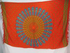 orange red peacock feather boho gypsy scarf wrap Bohemian mandala sarong beachwear shawl scarf $5.25 - http://www.wholesalesarong.com/blog/orange-red-peacock-feather-boho-gypsy-scarf-wrap-bohemian-mandala-sarong-beachwear-shawl-scarf-5-25/