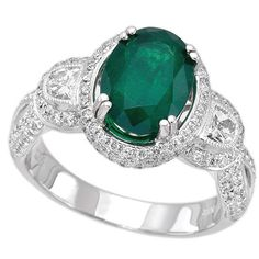 18K White Gold 1.87ct Diamond Emerald Ladies Ring