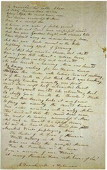 Coleridge draft of the poem Kubla Khan