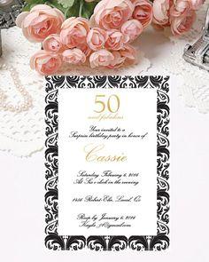 Printable 50th Birthday Invitations Digital by PapierCouture1