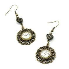 J'Adore Paris GORGEOUS Steampunk Gothic Lolita Earrings with Vintage... ❤ liked on Polyvore featuring jewelry, earrings, steampunk, accessories, gothic earrings, cameo jewelry, vintage jewellery, steampunk earrings and cameo earrings