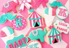 Circus Cookies~                         No source, pink, blue, tent, elephant, mustache, bow