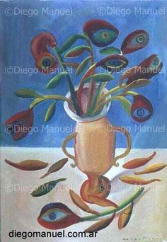 flores y ojos  (flowers and eyes), acrylic on canvas, 65 x 45 cm. 2001 Price of original painting: inquire