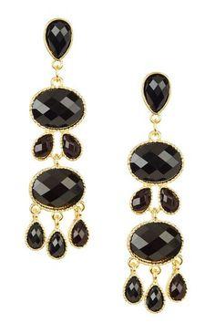 Gold & Black Stacked Tier Multi-Shaped Earrings by Olivia Welles on @HauteLook