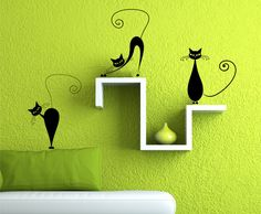 These are so cute!! Vinyl Wall Decal 3 Cute Cats Wall decals by Zapoart on Etsy, $19.00