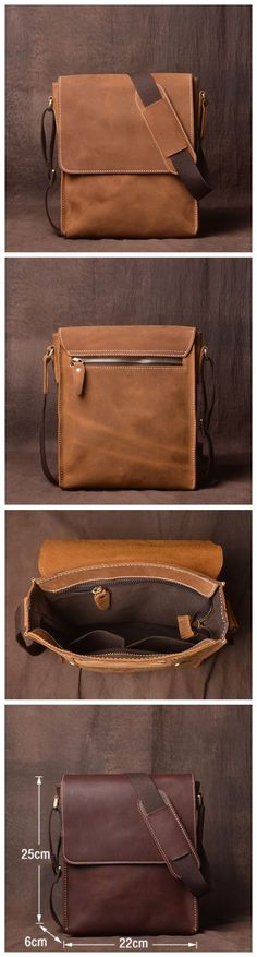 Leather Crossbody Bag, Leather Messenger Bag, School Bag,Handmade Bag JZ007